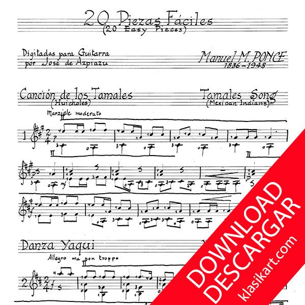20 Piezas fáciles para guitarra - Manuel M. Ponce - Partitura